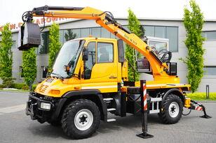 MERCEDES-BENZ UNIMOG U300 , 4x4 , plow set , Excavator body , graple , support bager točkaš